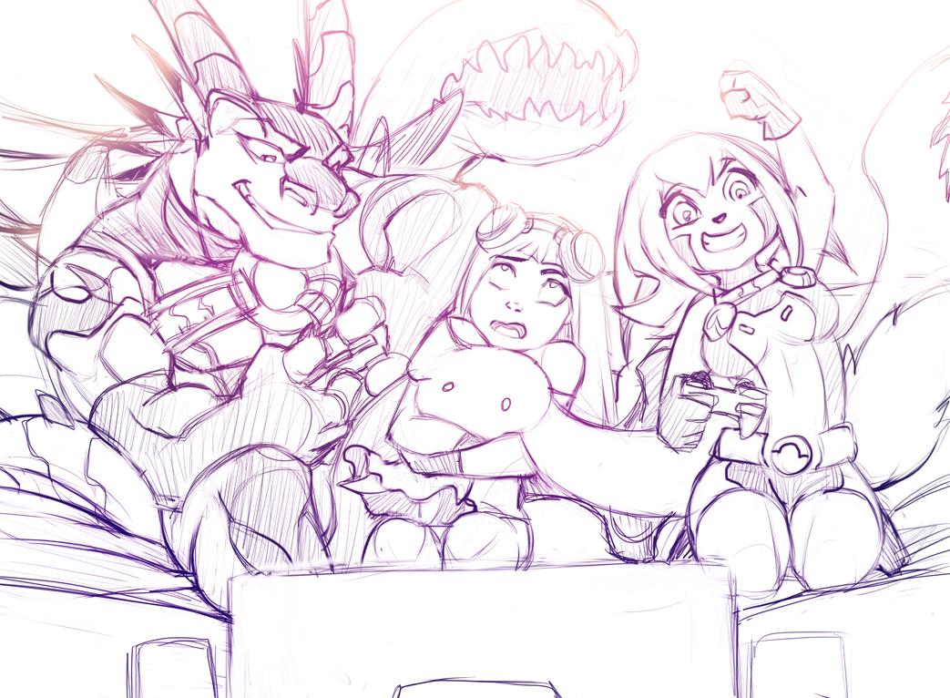 videogame party (sketch) by RoksanaTH