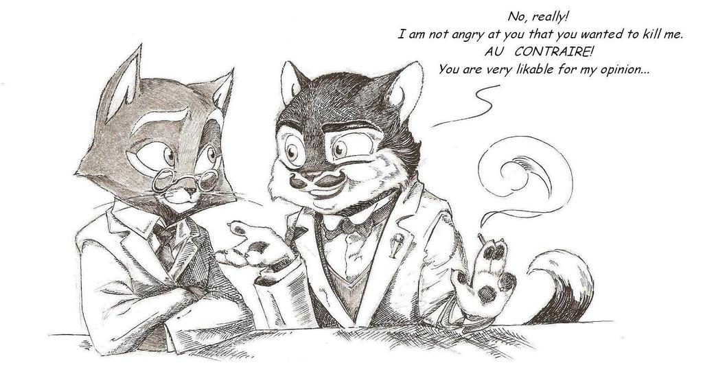 Mordecai and Poirot by CeskaSoda