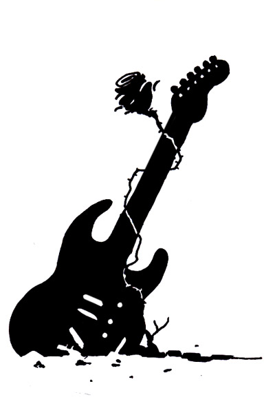 Guitar And Rose Drawing Thingy By Gooze On Deviantart