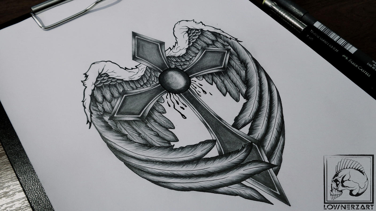 This is a picture of Adorable Cross With Wings Drawing