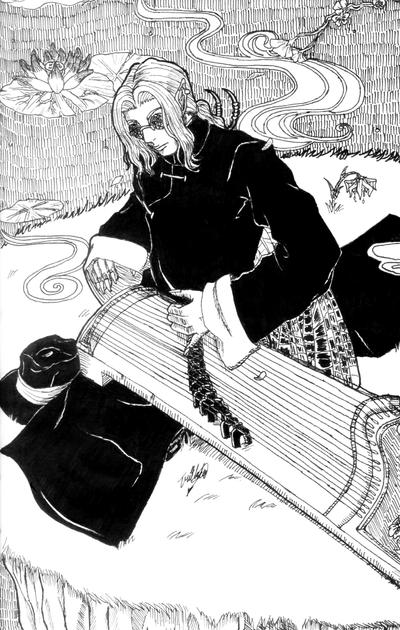 Day 28: Fu You and his gu zheng by UmiMizuno