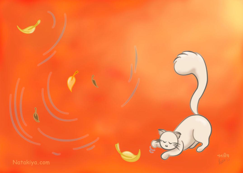 Kitty In Fall wallpaper by ~Natakiya on deviantART
