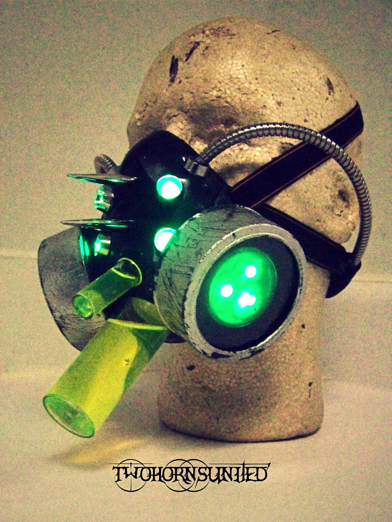 Bioenhancer Cyberpunk LED gas mask by TwoHornsUnited
