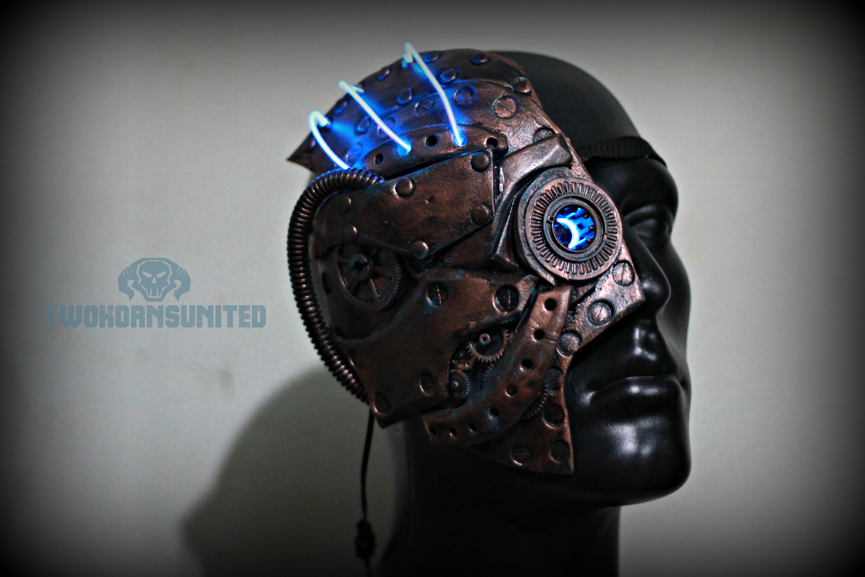 Steampunk light up Phantom of the opera half mask by TwoHornsUnited