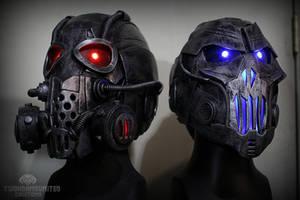 Light up DJ cyberpunk helmets