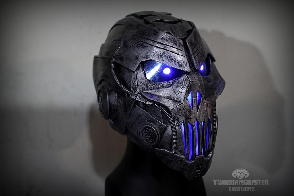 The Grave Ender v1.0 - light up cyber DJ helm by TwoHornsUnited