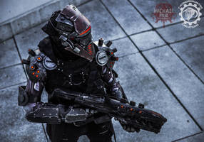 The TR3-22 Security unit - LED Cyberpunk Cosplay by TwoHornsUnited