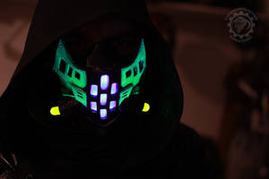 The Ravager Cyberpunk UV reactive LED mask
