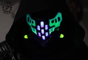 The Ravager Cyberpunk UV reactive LED mask by TwoHornsUnited