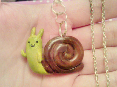 Adventure Time waving snail necklace by MeowMowRaa
