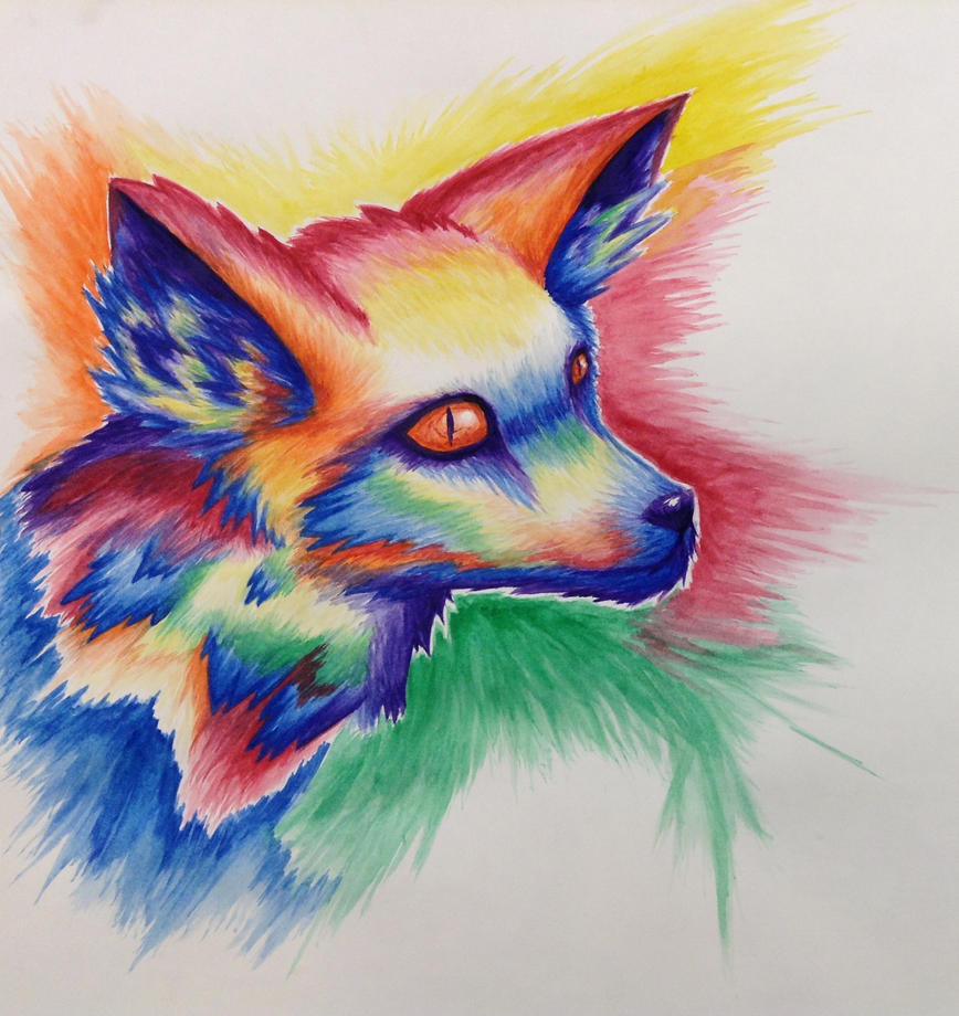 Rainbow fox by xxdaniellexx1995