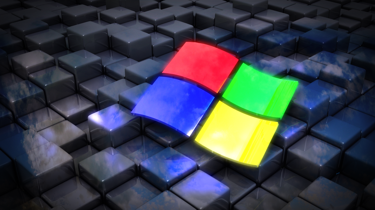 Windows Flag on cubes by xQUATROx