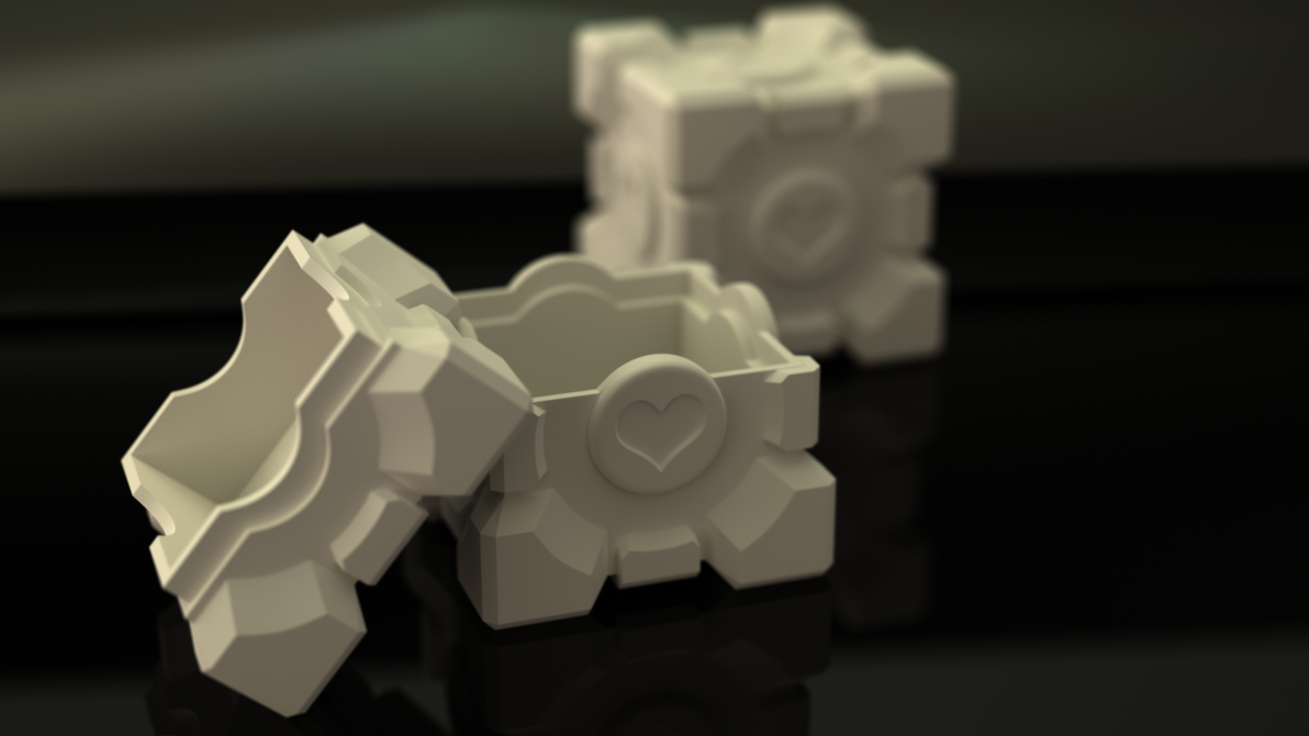 Companion Cube storage box by xQUATROx