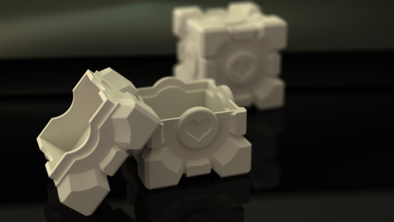 Companion Cube storage box by xQUATROx