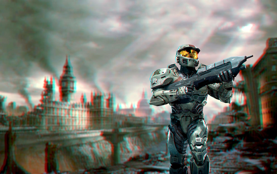 Anaglyph 3D Halo London by xQUATROx