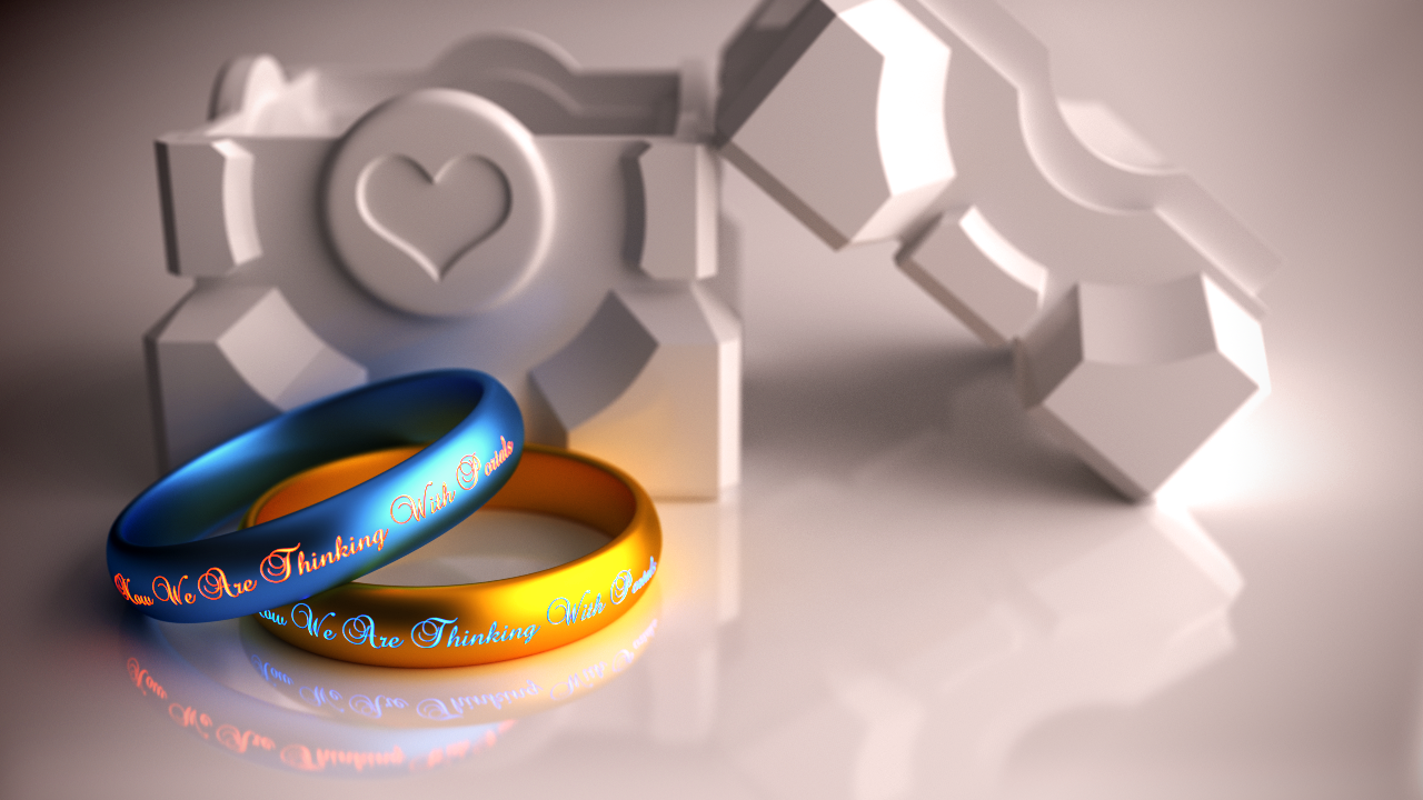 Portal Wedding Rings gamer wedding rings Portal Wedding Rings by xQUATROx Portal Wedding Rings by xQUATROx
