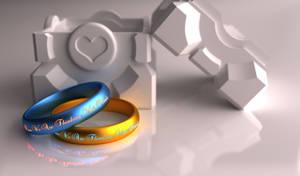 Portal Wedding Rings 4K Print by xQUATROx