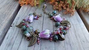 Lampwork rose gemstone agate bronze bracelet