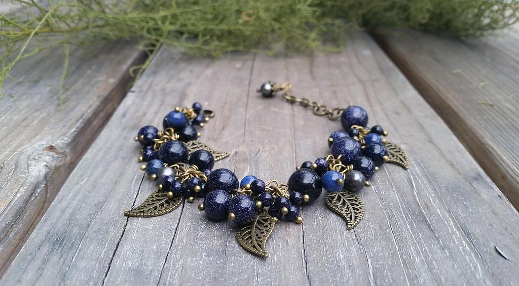 Navy blue Goldstone Black pearl Lapis bracelet by Joshou