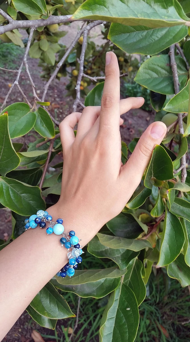Blue Agate Sugar Quartz silver bracelet by Joshou