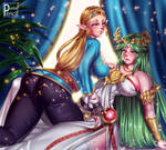 Zelda and Palutena by PashaPencil