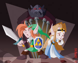 Link and Zelda by Dawgweazle