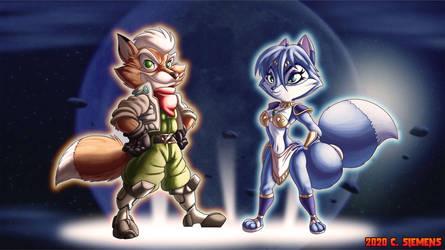 Star Fox: Fox and Krystal by Dawgweazle