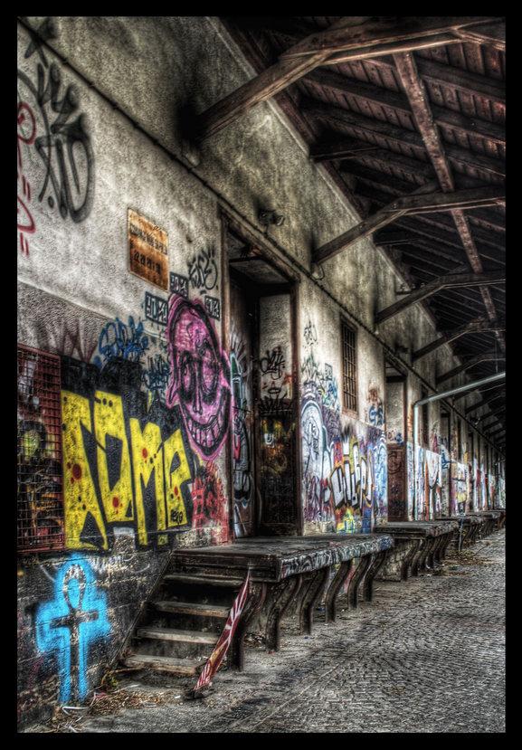 HDR train station grafiti  I by Svizac