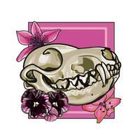 Fox Skull Full Color Medium Flowers by WolfRunner27