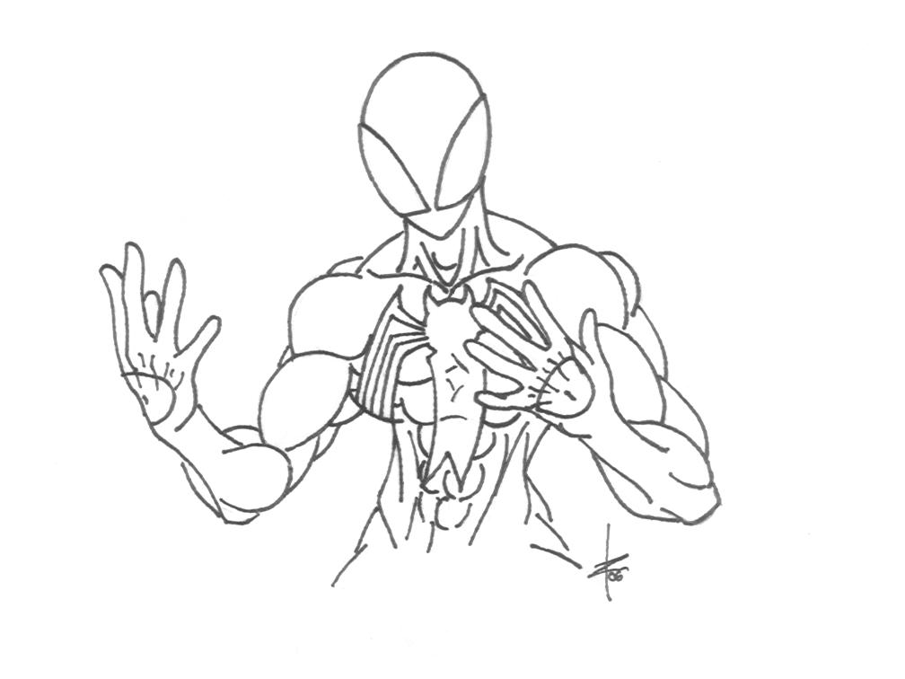Symbiote Spider-Man lineart by kuraiz on DeviantArt