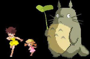 Ghibli Sprites - Satsuki, Mei, and Totoro by IcyRose13