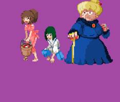 Ghibli Sprites - Chihiro, Haku, and Yubaba by IcyRose13