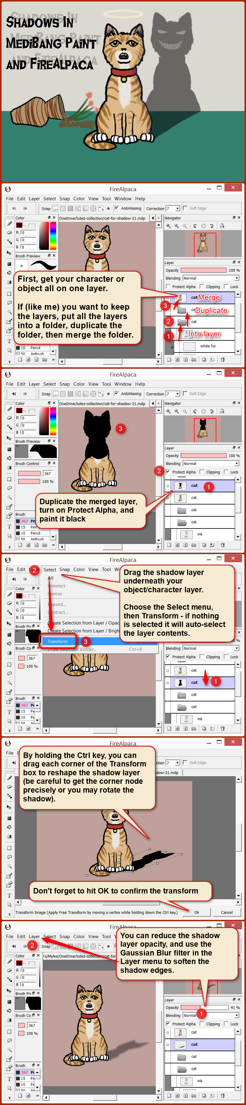 Shadow tutorial for FireAlpaca and MediBang Paint by obtusity on