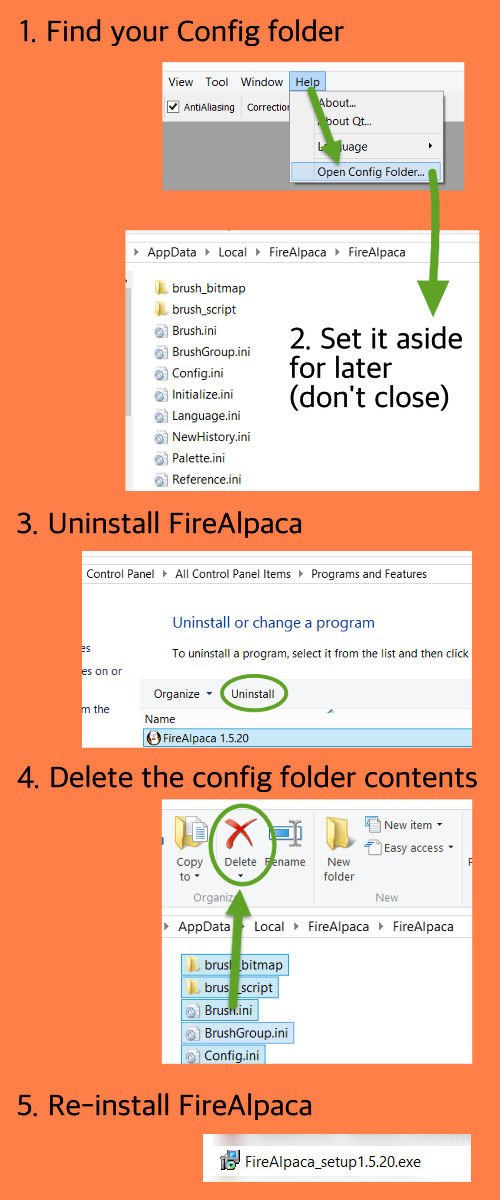 Reset FireAlpaca - visual guide