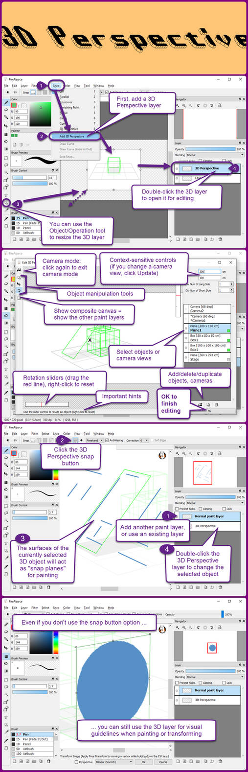 3D Perspective layers in FireAlpaca 1.6