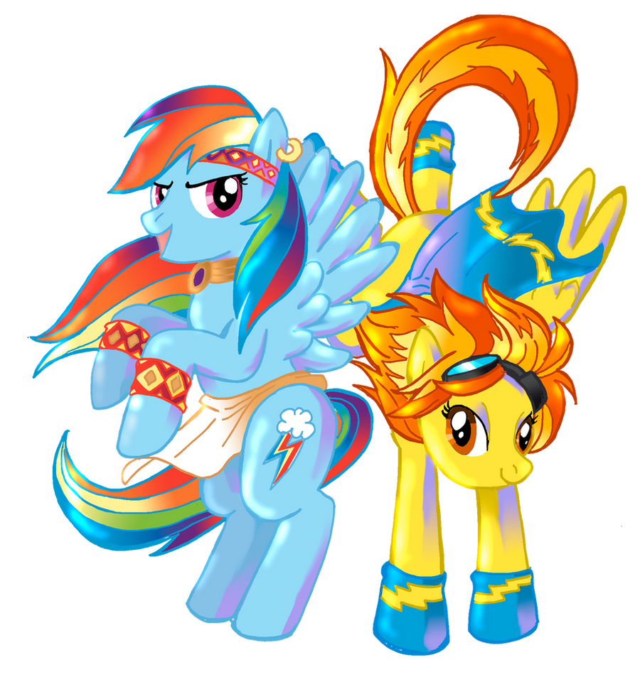 Warrior Rainbow Dash And Wonderbolt Spitfire By