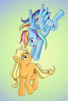 Applejack and Rainbow Dash by lotothetrickster