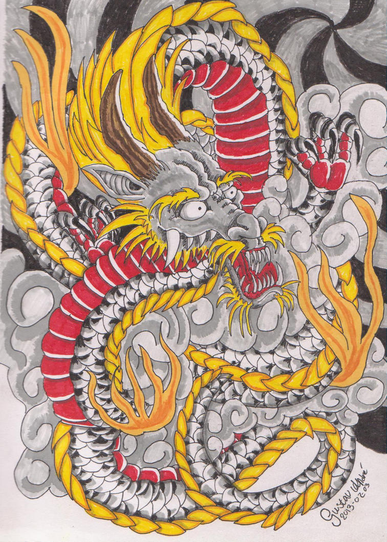 Japanese dragon by nicoraven on deviantart for Japanese dragon painting