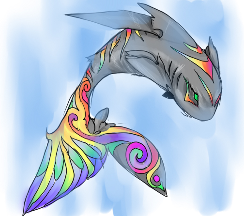 Rainbow Shark Drawing Rainbow Shark by Girutea