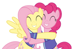 Pinkie and Flutters Hugging