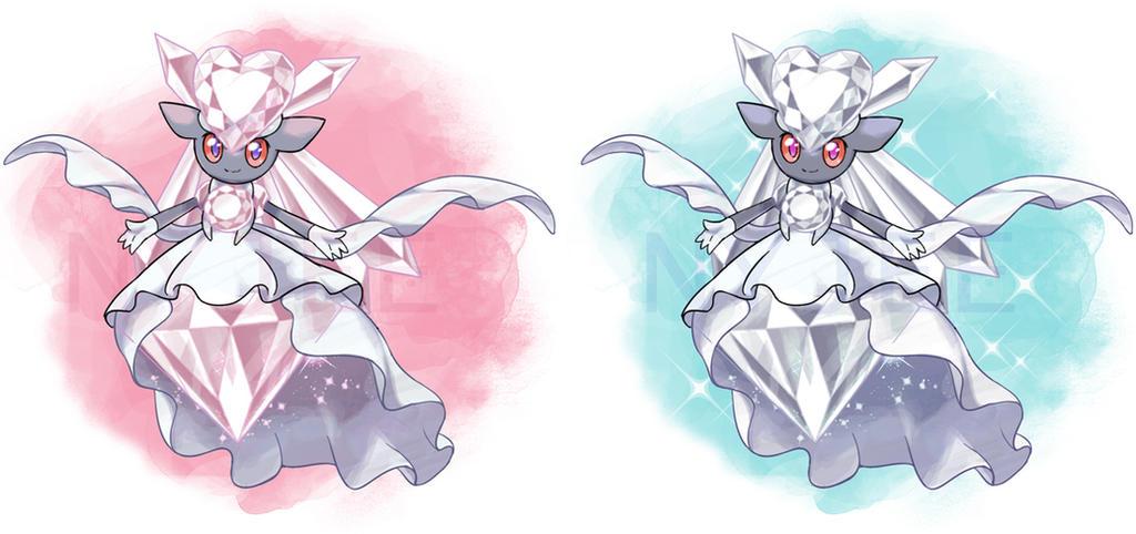 MEGA Diancie and shiny MEGA Diancie by Nyjee