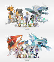 Redsigns of my original characters and starters by Nyjee