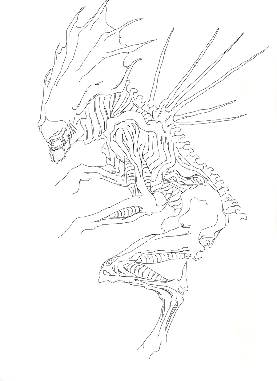 Xenomorph queen lineart by kiishou on deviantart for Xenomorph coloring pages