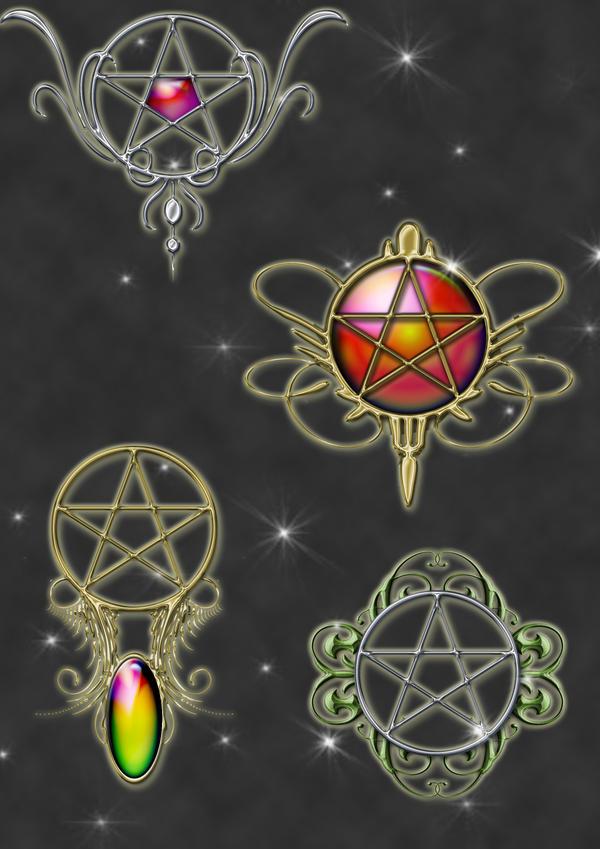pentacle pendants by Darla-Illara