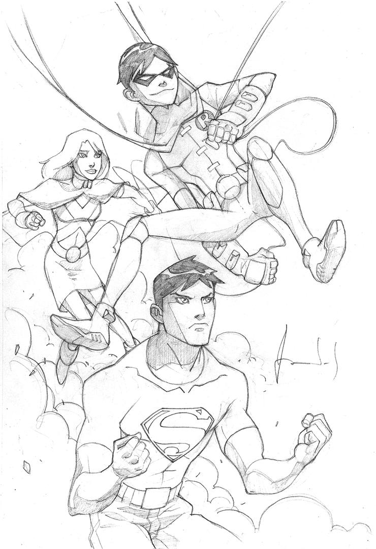 Young Justice Scketch By Ultimaterubberfool On Deviantart Justice Superboy Coloring Pages Free