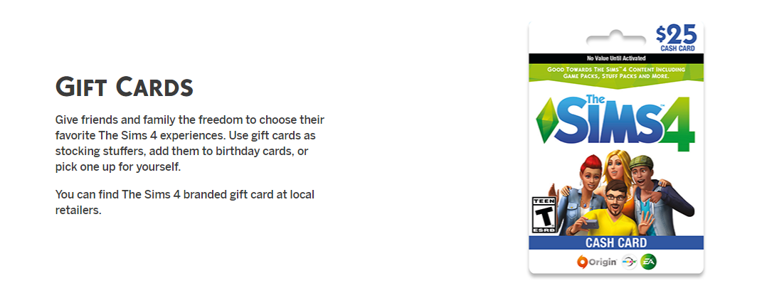 Give The Gift Of Sims Gift Cards The Sims Forums
