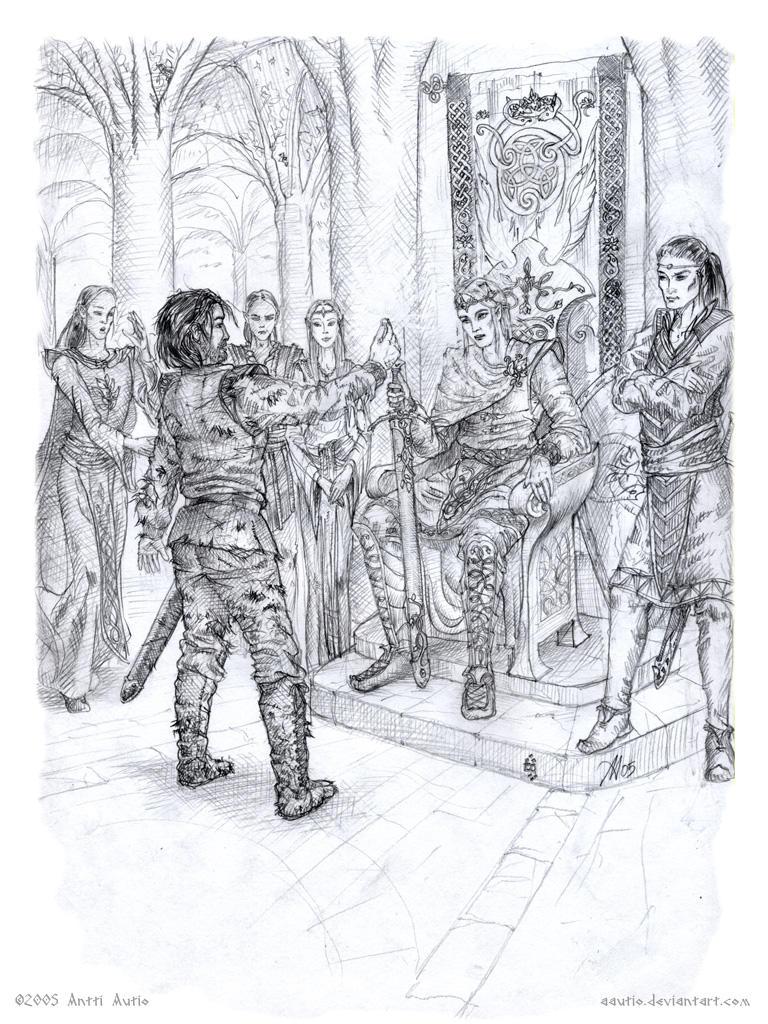 Beren at Felagund's throne by aautio