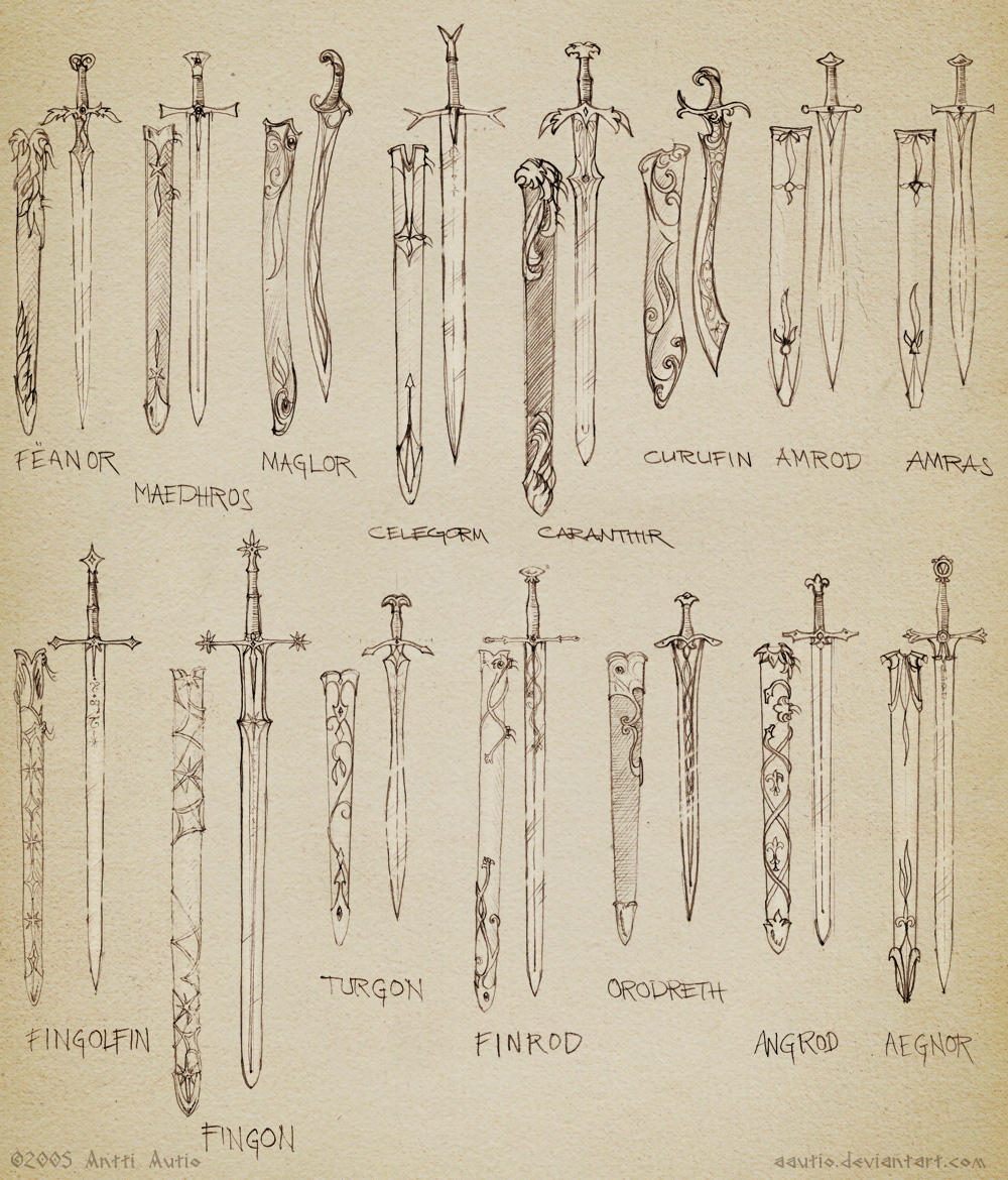 Sketch: Noldorin swords by aautio