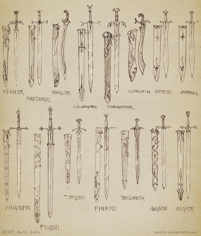Sketch: Noldorin swords by aautio