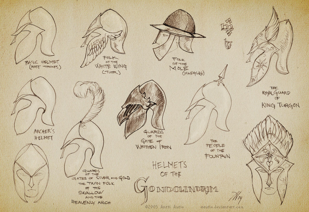 Sketch:Helmets of Gondolindrim by aautio